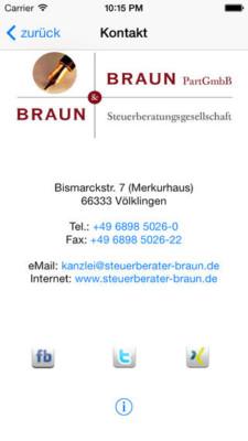 Nehmen Sie Kontakt mit Steuerberater Braun auf.